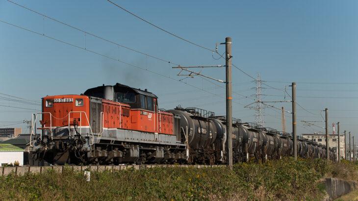 非電化区間で関西本線のDD51貨物を記録