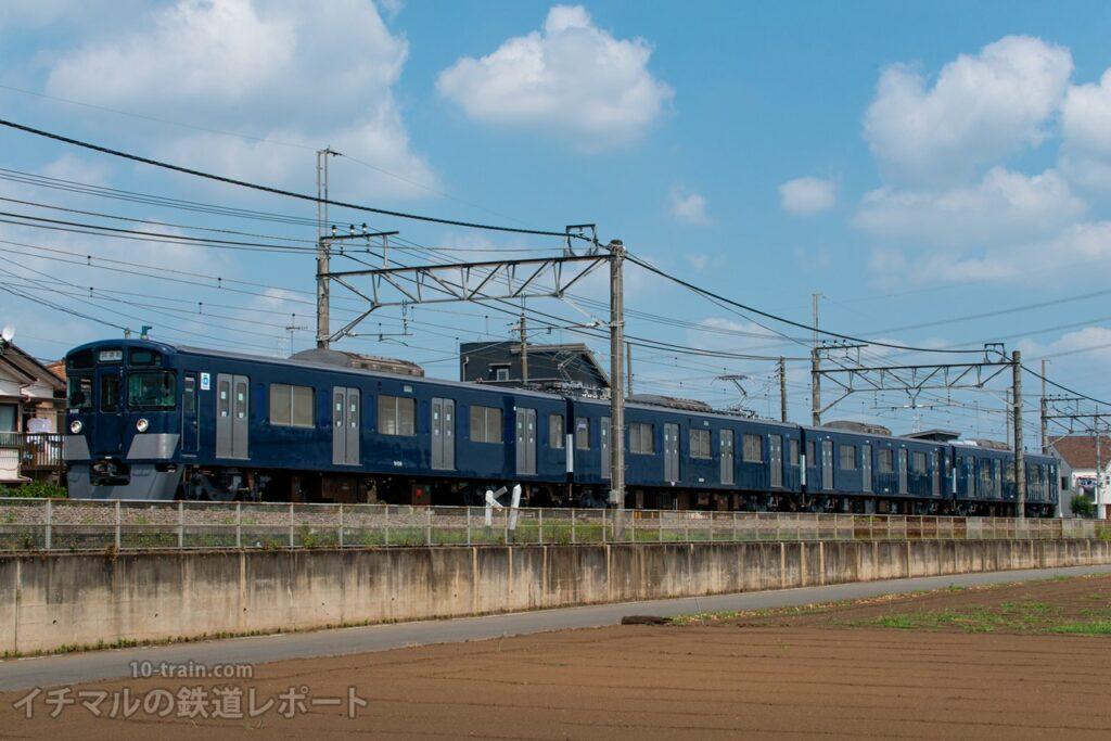 新宿線を走る9000系9108F(ワンマン改造車・4両)試運転列車