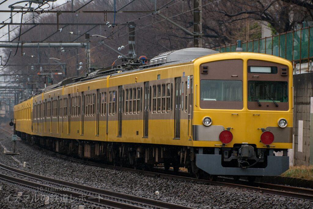 多摩川線へ輸送されていく新101系1245Fツートン塗装(新101系263F+1245F)